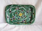 Mexican Green Peacock Baking Serving Dish Platter Tray Made Mexico Handpainted