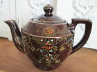 ~Vintage Brown Teapot w/Handpainted Design Made in Japan~Country CoTtage Decor