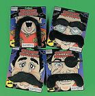 SELF ADHESIVE MOUSTACHE ASSORTED STYLES LOT OF 12 great for PIRATE PARTYs