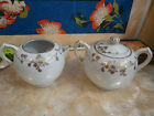 Beautiful Nippon Cream and Sugar Set Marked NK White/Gold Trim Design