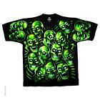 New Liquid Blue Green Skull Pile Double Sided T Shirt