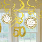 50th Anniversary Dangling Foil Swirl Decorations 12 Piece Set 670344