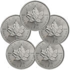 Lot of 5 - 2014 Canada 1 Troy Oz .9999 Silver Maple Leaf $5 Coins SKU30323