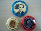 Lot of 3 Vintage My Friend Shirley Temple and Doll Pin Back Buttons - Excellent