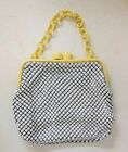 Beautiful Whiting & Davis 1940-50 VINTAGE White Metal Mesh and Celluloid Purse