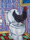 CHICKEN rooster hen bathroom 4x6 signed art PRINT glossy impressionism birds