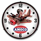NEW  AMOCO AVIATION  RETRO BACKLIT LIGHTED CLOCK - FREE SHIPPING*