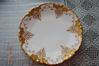 6 Antique, hand painted P&P La Seynie Limoges White and Gold Dessert Plates