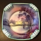 Noritake Hand Painted Square Bowl Rolled Corners Lake/Water Scene w/Trees