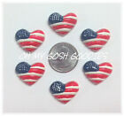 6PC PATRIOTIC HEART FLAG JULY FOURTH FLATBACK RESINS FLAT BACK 4 HAIRBOW CENTER
