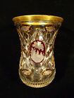 BOHEMIAN AMBER  CRANBERRY ETCHED  CUT CRYSTAL VASE