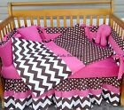 BROWN WHITE POLKA DOT CHEVRON w/ HOT PINK 7 piece Crib Bedding Set