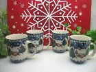 Lot of 4 Tienshan China Christmas Holiday CABIN IN THE SNOW  Coffee Mugs Cups