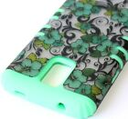 For Samsung Galaxy S5 - HARD & SOFT RUBBER HYBRID ARMOR CASE MINT GREEN FLOWERS