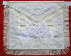 MASONIC PAST GRAND MASTER ALL WHITE APRON WITH FRINGE HAND EMBROIDERED MA-067-WT