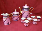 Vintage 11 Piece Porcelain Tea Coffee Set Made in Germany Iriedescent Rose Gold