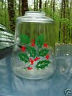 VINTAGE INDIANA GLASS HOLLY & RED BERRIES Cookie Snack Jar 9