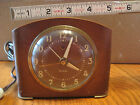 Vtg Westclox Electric Shelf Mantle Alarm Clock Wood Greenwich Rounded Top 5x4x2