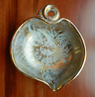 VINTAGE RETRO 1950s STANGL POTTERY LEAF BOWL TURQUOISE BLUE 22kt GOLD in USA
