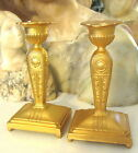 1920'S ART DECO JENNINGS BROS. GOLD GILT CANDLE HOLDERS / CANDLESTICKS