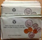 LOT OF TEN (10) 1989 US MINT SETS -- 100 UNCIRCULATED BU COINS IN MINT CELLO P+D
