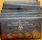 LOT OF TEN (10) 1991 US MINT SETS -- 100 UNCIRCULATED BU COINS IN MINT CELLO P+D