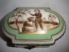Antique French Sevres porcelain hand painted boy holding a bird  trinket box