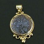 Ancient Handmade Roman Coin Pendant 22K Yellow Gold over 925K Sterling Silver