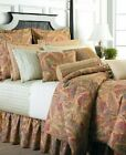 RALPH LAUREN COCO PALMS KING BEDSKIRT floral tan rust red turquoise teal EUC!