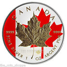2014 1 oz Silver Coin - Canadian Maple Leaf - Color and 24k Gold Gilded Edition