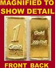 24K SOLID INGOT GOLD BULLION ACB 1GRAIN BAR .999 FINE Au
