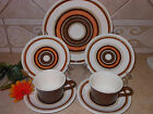 RETRO SET 7pc JEANNETTE ROYAL SANTA FE BROWN DINNER PLATE DISH CUP SALAD MUG USA