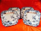 222 Fifth ADELAIDE BLUE AND WHITE Dinner Plate Set 4 Toile Floral Birds-French