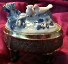 antique Japan metal trinket /casket box with blue / white porcelain love birds