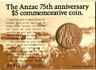 1990 Australian Anzac 5 Dollar Coin on Card of Issue