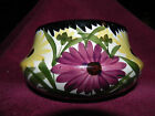 Vintage German Pottery Bowl Flower Daisy/Zinnias Floral 3-1/2 inch high, 6-1/2 w