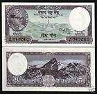 NEPAL 5 MOHRU P9 1960 KING MT.EVEREST SIGN 4 BUDDHA STUPA UNC CURRENCY BILL NOTE