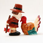 Pilgrim and Turkey Salt and Pepper Shaker Set Ceramic Thanksgiving Traditional