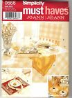 NEW Uncut Simplicity Pattern: TABLE ACCESSORIES, Place Mat, Chair Back Cover +