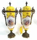 ANTIQUE / VINTAGE PAIR OF PORCELAIN HAND PAINTED URNS WITH FANCY METAL TRIM 16'