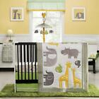 Elephants and Giraffes 4p Neutral Baby Boy/Girl Zoo Animals Nursery Bedding Set