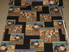 PATTY REED Designs POLAR FLEECE fabric 2 yds WILD HORSES PATCHWORK great print!