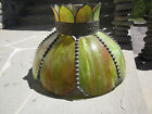 Victorian Antique Slag Panel Glass Shade Dragonfly Ceiling Hanging Light Green