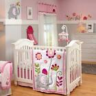 Floral with Elephant and Turtle Jungle Girls Nursery 4 Piece Crib Bedding Set