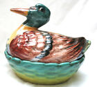 Duck Dish Candy Dish Made in Italy Ceramic Beautiful Vintage Hand Painted
