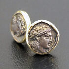 Turkish Ancient Handmade Jewelry Coin Stud Earring Gold over 925 Sterling Silver