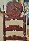 ANTIQUE 19thC FRENCH BRITTANY VICTORIAN GOTHIC CARVED WOOD CHAIR RUSH SEAT