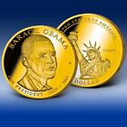 BARACK OBAMA DOLLAR TRIAL COIN - CU LAYERED 24K GOLD