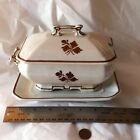 Vtg Tealeaf Ironstone Meakin Small Sauce Gravy Covered Tureen Underplate As Is