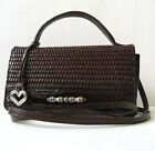 BRIGHTON HANDBAG BROWN WOVEN LEATHER ORGANIZER CROSSBODY WALLET Bag